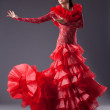 Young woman flamenco dancer posing in red — Stock Photo