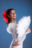 Beauty woman portrait in white flamenco costume — Stock Photo