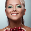 Smile woman offer your taste ripe cherry — Stock Photo #11661631