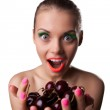 Smile woman offer your taste ripe cherry — Stock Photo #11739790