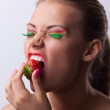 Smile woman offer your taste ripe cherry — Stock Photo #11739805