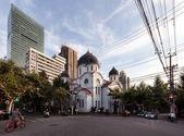 Orthodox church on china street — Stock Photo