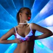 Sexy woman in disco dance with ultraviolet make-up — Stock Photo