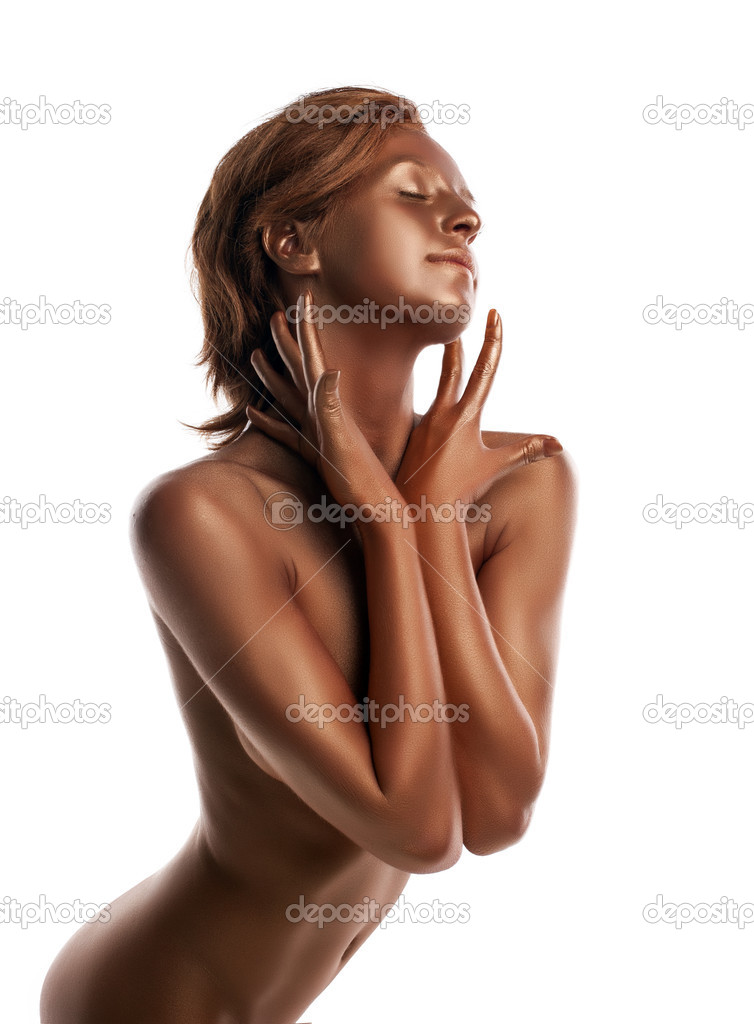 Woman with perfect naked body like statue with metal skin make-up — Stock Photo #12116031