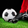 Soccer ball on the football field — Foto Stock