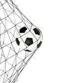 Bola de futebol na porta do líquido — Fotografia Stock