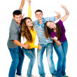 Group of young with thumbs up — Stock Photo
