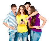 Group of young with phone — Stock Photo