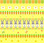 Child's seamless wallpaper with bunny and carrot vector — Stock vektor