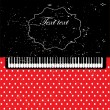 Abstract grunge music background with piano keys on red — Stock Vector