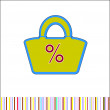 Royalty-Free Stock Vector Image: Shopping paper bag green, vector illustration