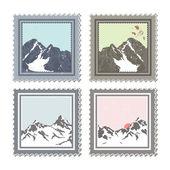 Winter stamps — Stock Vector