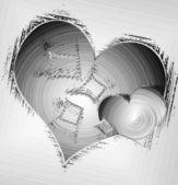 Broken hearts in gray — Stock Photo