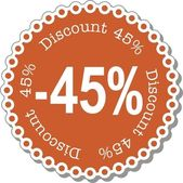 Discount forty five percent — Stock Vector