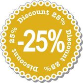 Discount twenty five percent — Stock Vector