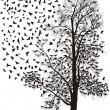 Crows fly away from the tree - Imagen vectorial