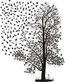 Crows fly away from the tree — Vector de stock