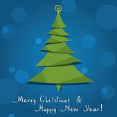 Tarjeta de felicitación del vector con árbol de navidad — Vector de stock