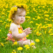 Happy little girl  on the meadow - Foto de Stock