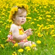 Happy little girl  on the meadow - Stok fotoraf