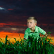 Happy young man rest on green field — Stock Photo #11623547