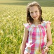 Young beautiful girl in a field of wheat — Stock Photo #12113330
