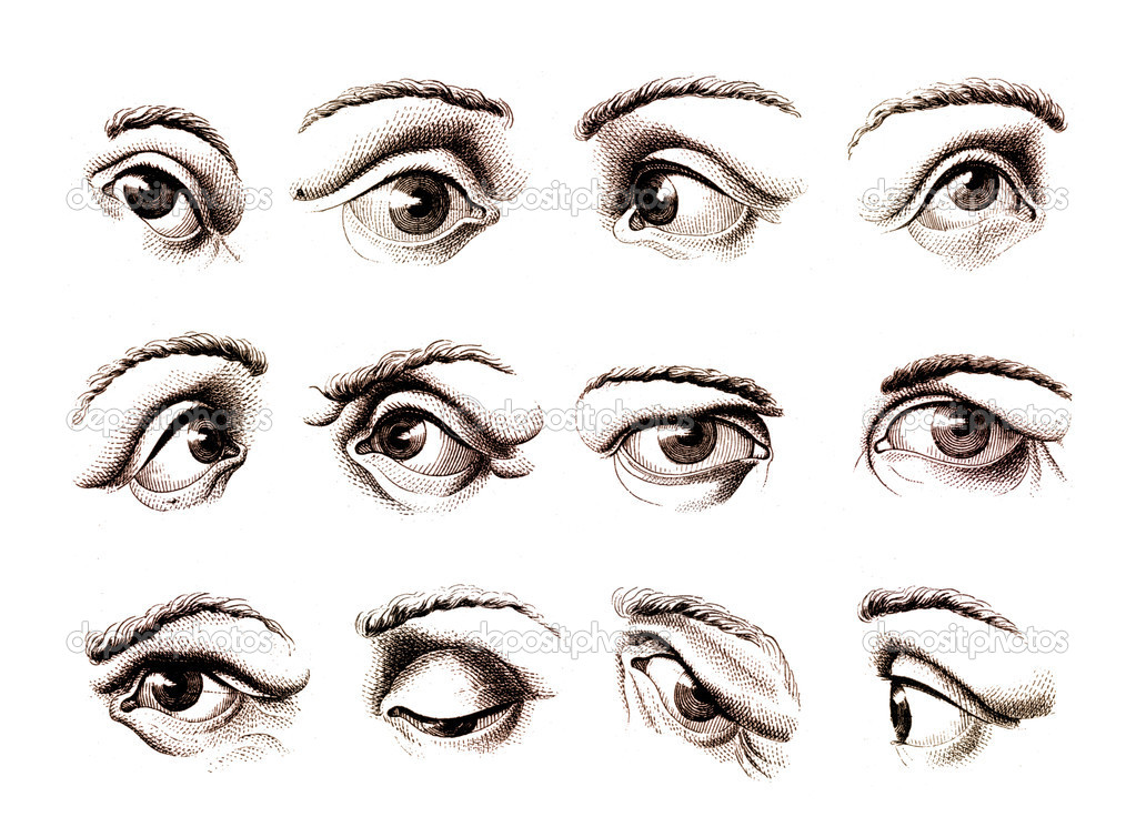 Old engravings of human eye expressing various emotions — Stock Photo #10829090