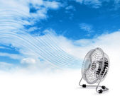 Electric cooler fan blowing fresh air — Stock Photo