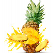 Stock Photo: Pineapple juice burst