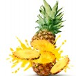 Pineapple juice burst - Stock Photo
