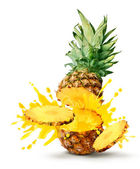 Pineapple juice burst — Stock Photo