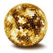 Golden disco mirror ballall — Stock Photo