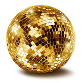 Golden disco mirror ballall — Foto de Stock