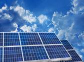 Solar panels blue sky — Stock Photo
