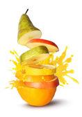 Fruit slices juice burst — Stock Photo