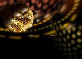Golden disco reflections — Stock Photo
