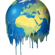 Global warming concept planet melting — Stock Photo