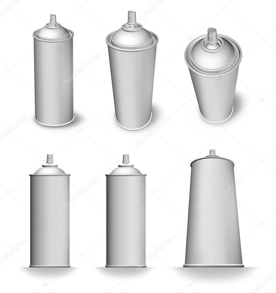 Blank spray aerosol can bottle various angles white background isolated — Stock Photo #11244889