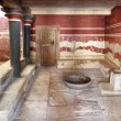 Throne hall Knossos Crete Greece - Stock Photo