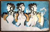 Minoan ladies mural painting fresco — Stock Photo