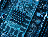 Computer circuit board and processors — Stock Photo