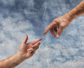 Two hands reaching old painting style — Stock Photo