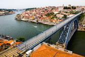 Ancient city Porto,metallic Dom Luis bridge — Stock Photo