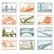 The collection of stamps with the image of bridges - Stock Vector
