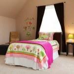 Постер, плакат: Pink bed in kids baby girl bedroom interior
