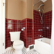 Classic antique brown and red bathroom. — Stock Photo