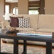 Home in interior sofa and coffee table details. — Stock Photo