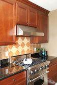 Luxe houten keuken met roestvrij stelen kachel. — Stockfoto