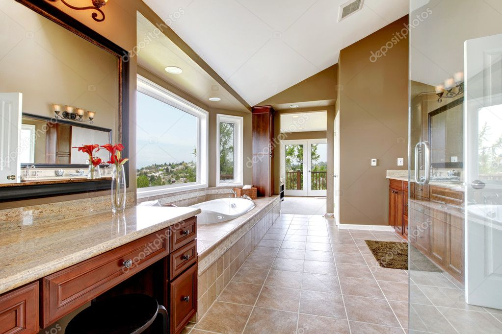 Large modern luxury new master bathroom in brown. — Stock Photo ...