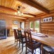 Log cabin living room with stove. — Stock Photo #11404759